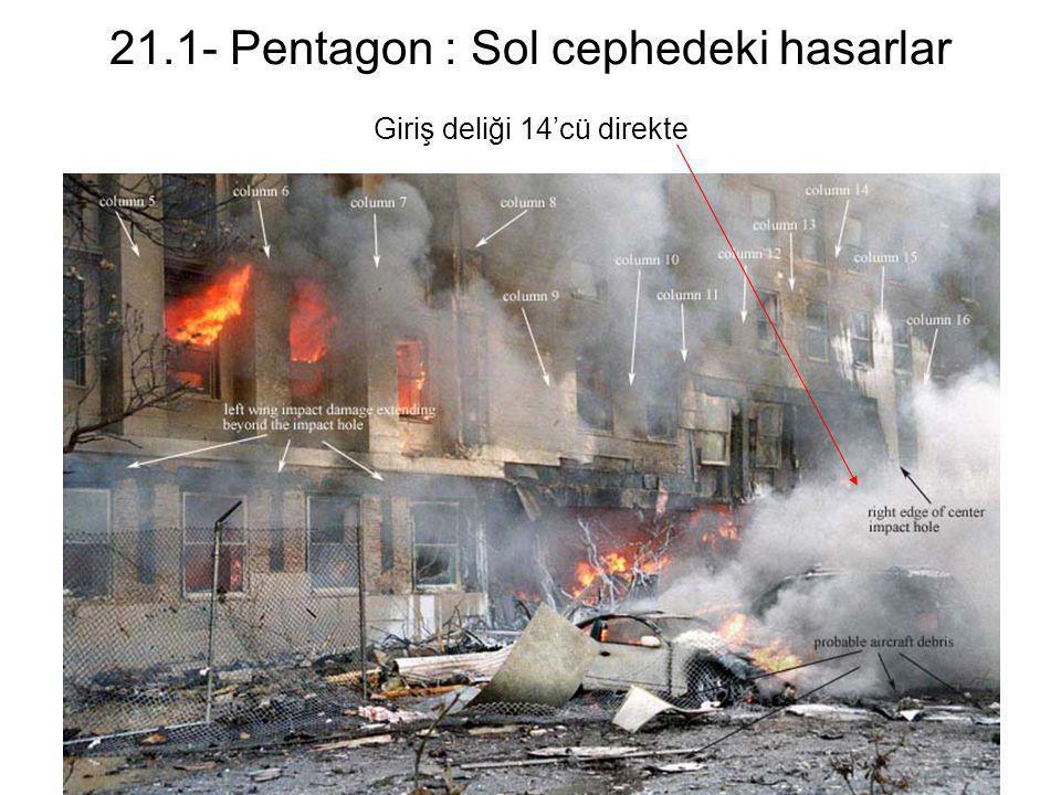 21.1- Pentagon : Sol cephedeki hasarlar Giriş deliği 14'cü direkte