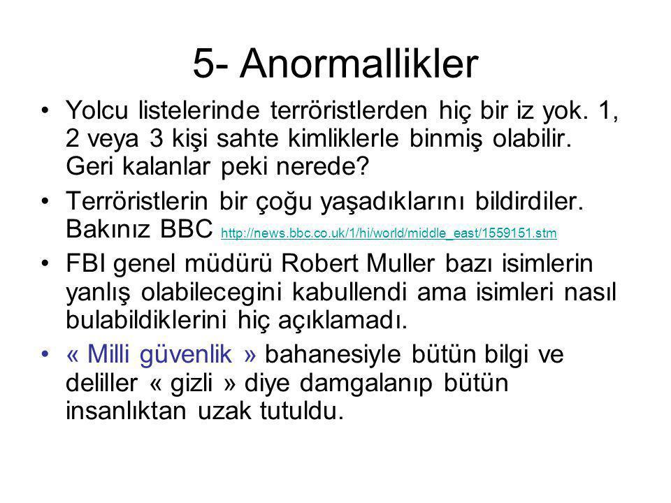 5- Anormallikler Yolcu listelerinde terröristlerden hiç bir iz yok. 1, 2 veya 3 kişi sahte kimliklerle binmiş olabilir. Geri kalanlar peki nerede