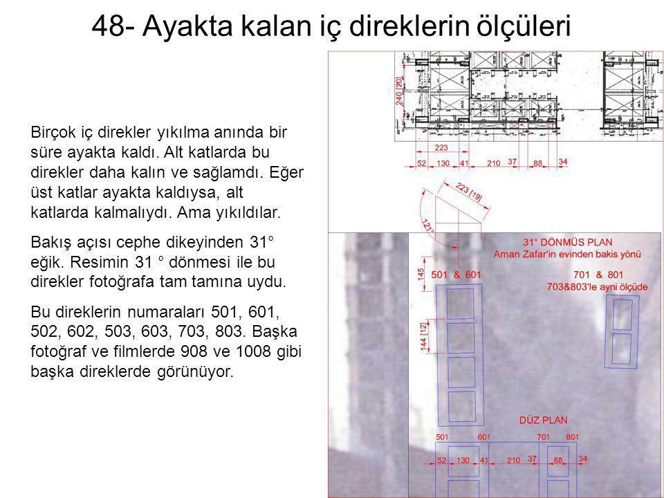 48- Ayakta kalan iç direklerin ölçüleri