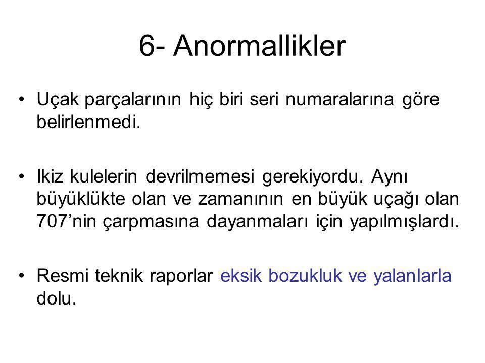 6- Anormallikler Uçak parçalarının hiç biri seri numaralarına göre belirlenmedi.
