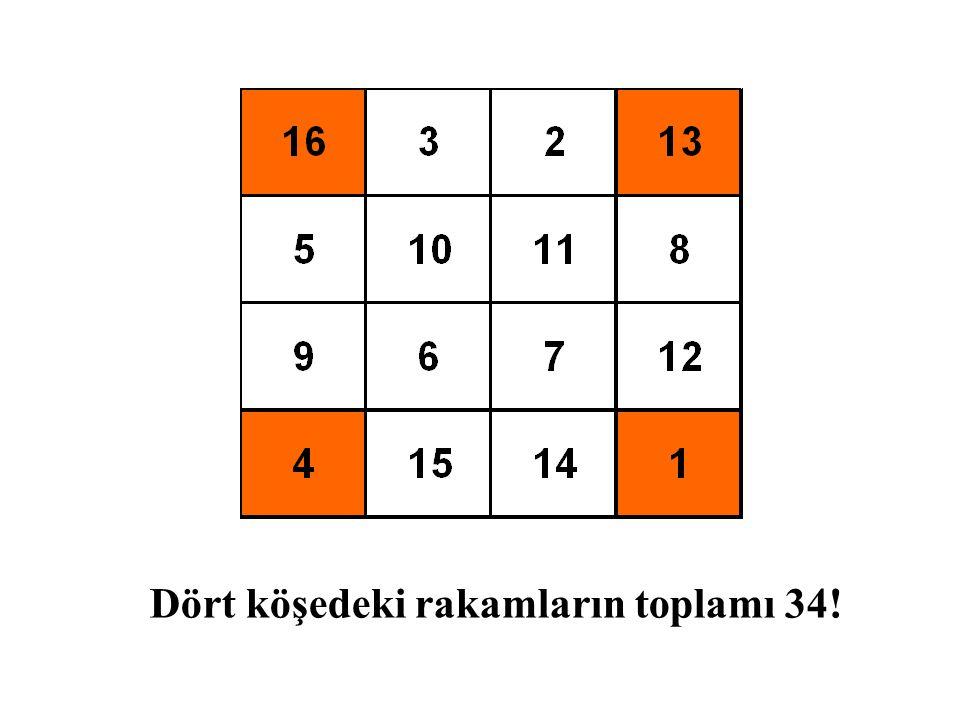 Dört köşedeki rakamların toplamı 34!
