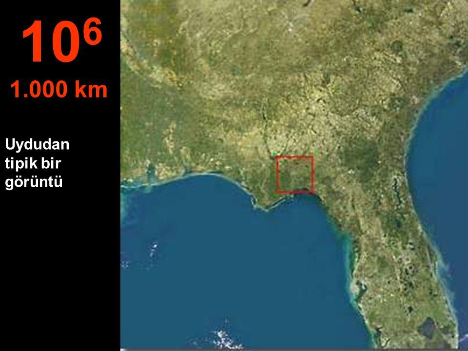 106 1.000 km Uydudan tipik bir görüntü
