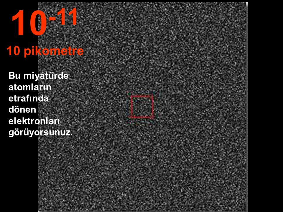 10-11 10 pikometre Bu miyatürde atomların etrafında dönen elektronları görüyorsunuz.