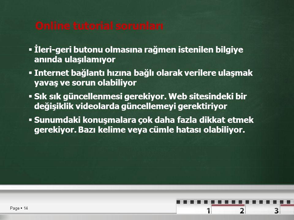 Online tutorial sorunları