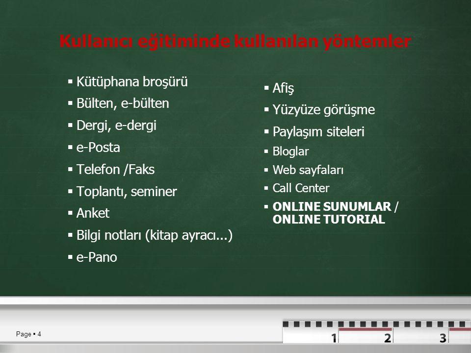 Kullanıcı eğitiminde kullanılan yöntemler