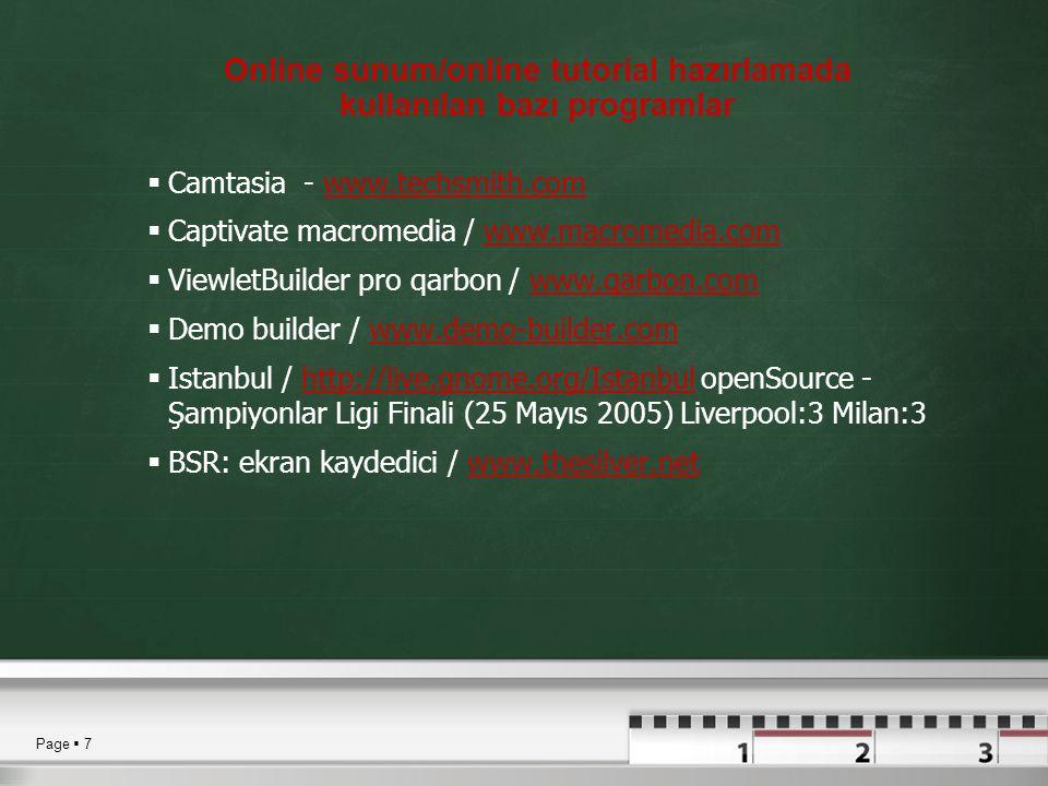 Online sunum/online tutorial hazırlamada kullanılan bazı programlar