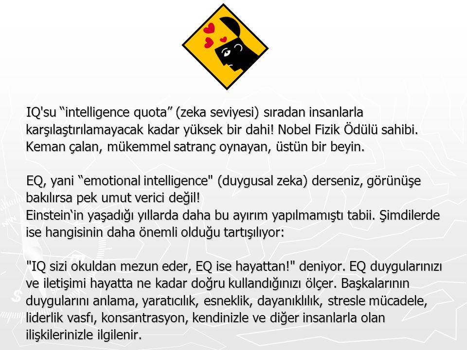 IQ su intelligence quota (zeka seviyesi) sıradan insanlarla karşılaştırılamayacak kadar yüksek bir dahi! Nobel Fizik Ödülü sahibi. Keman çalan, mükemmel satranç oynayan, üstün bir beyin.