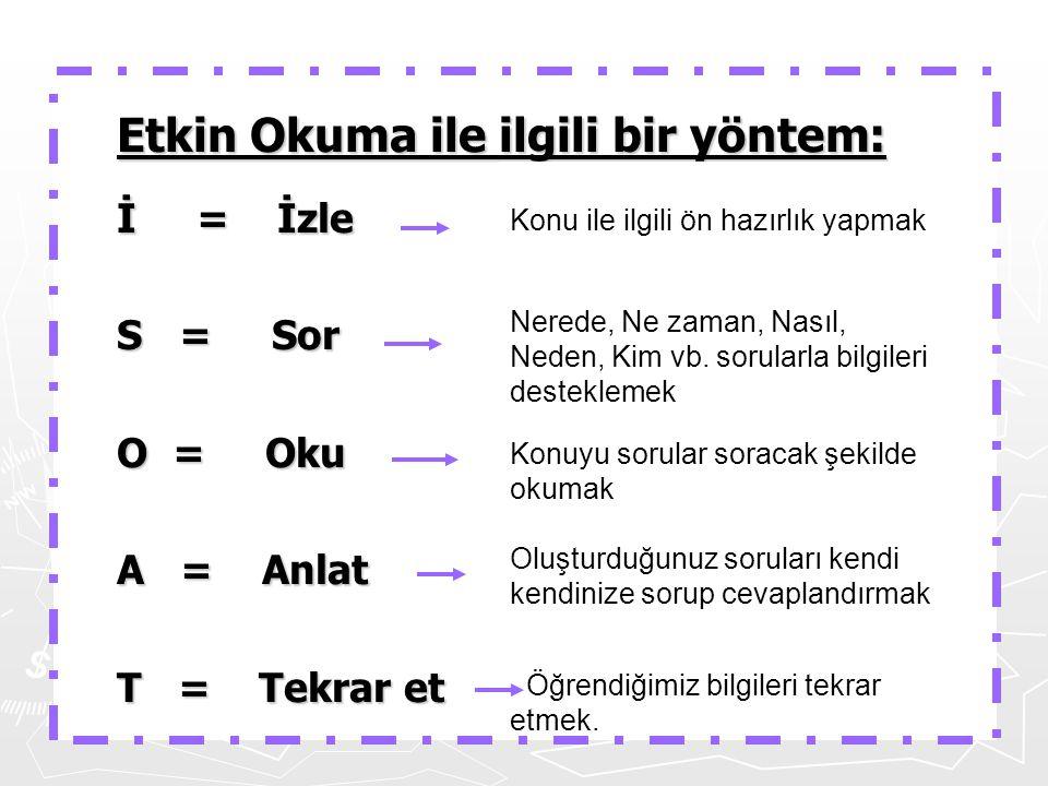 Etkin Okuma ile ilgili bir yöntem: