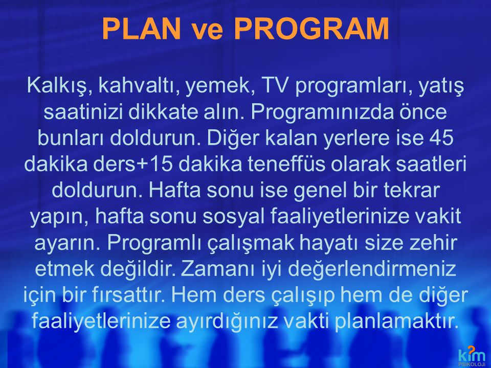 PLAN ve PROGRAM
