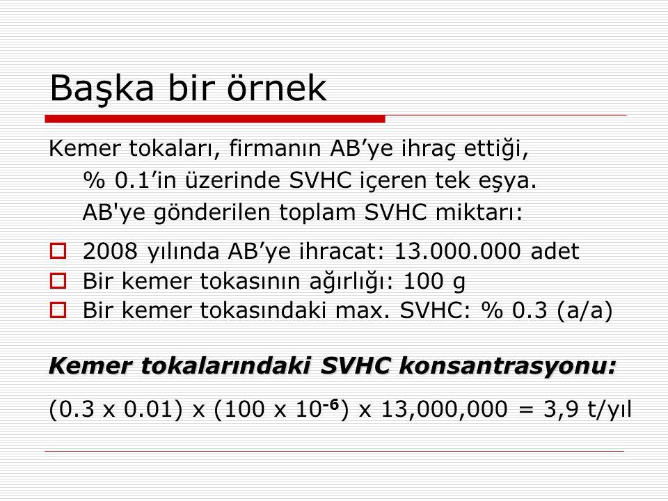 Başka bir örnek Kemer tokalarındaki SVHC konsantrasyonu: