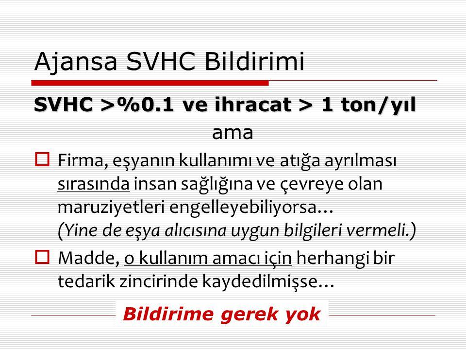 Ajansa SVHC Bildirimi SVHC >%0.1 ve ihracat > 1 ton/yıl ama