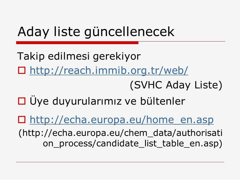 Aday liste güncellenecek