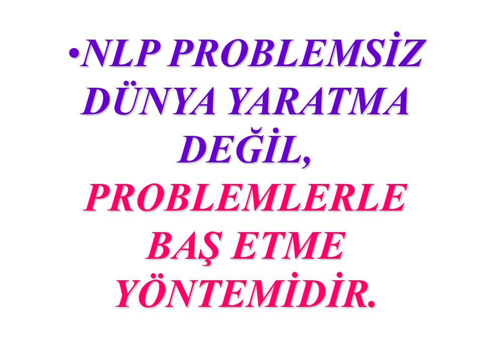 NLP PROBLEMSİZ DÜNYA YARATMA DEĞİL, PROBLEMLERLE BAŞ ETME YÖNTEMİDİR.