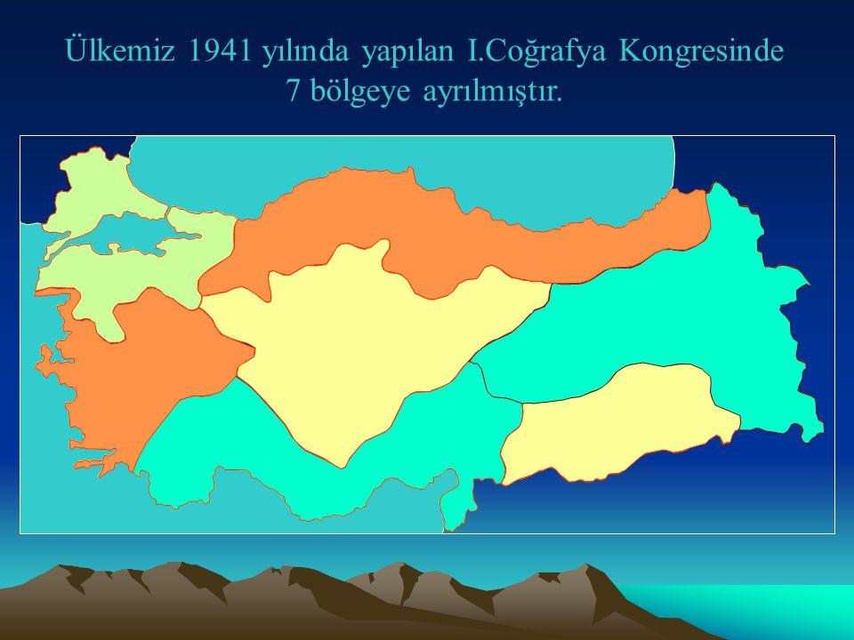 Ülkemiz 1941 yılında yapılan I.Coğrafya Kongresinde