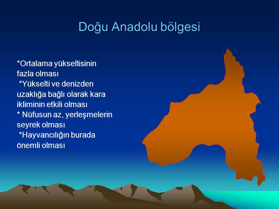 Doğu Anadolu bölgesi *Ortalama yükseltisinin fazla olması