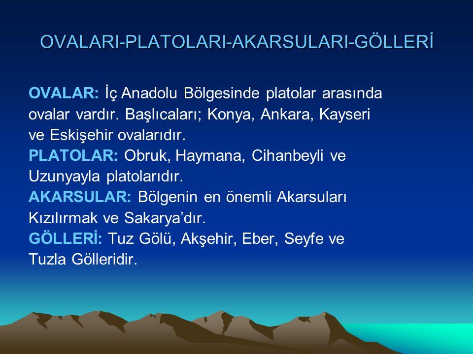 OVALARI-PLATOLARI-AKARSULARI-GÖLLERİ