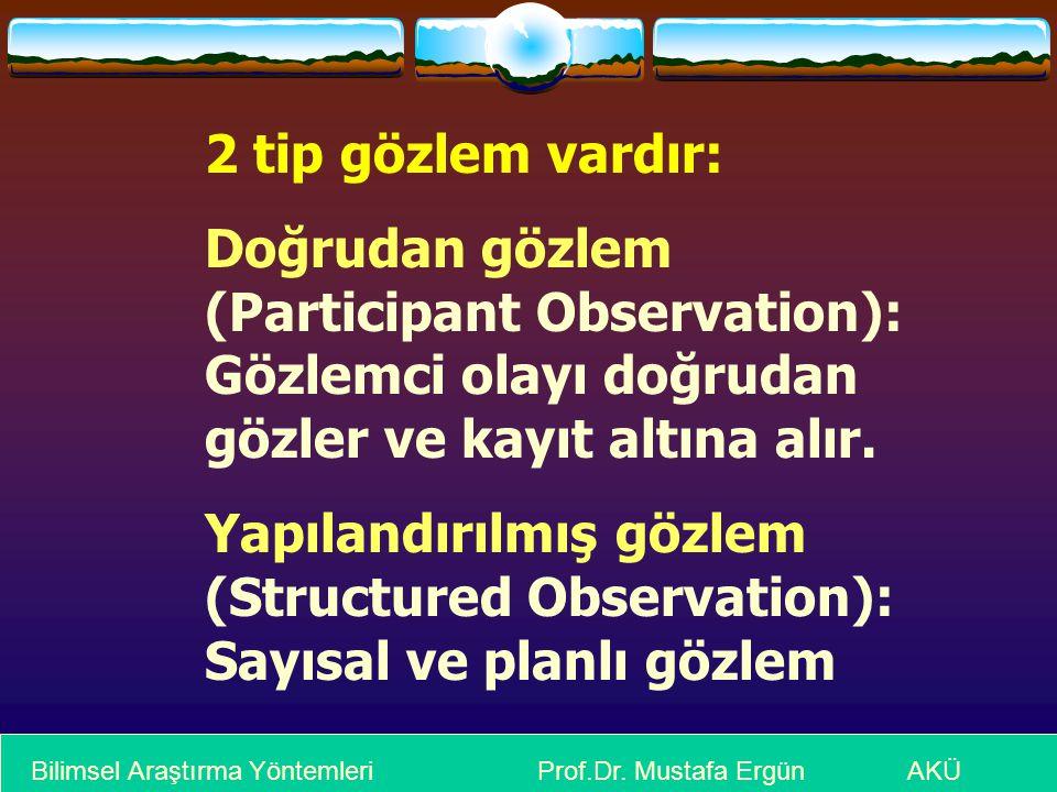 2 tip gözlem vardır: Doğrudan gözlem (Participant Observation): Gözlemci olayı doğrudan gözler ve kayıt altına alır.