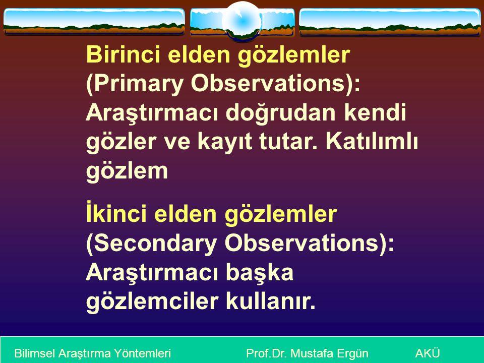 Birinci elden gözlemler (Primary Observations): Araştırmacı doğrudan kendi gözler ve kayıt tutar. Katılımlı gözlem