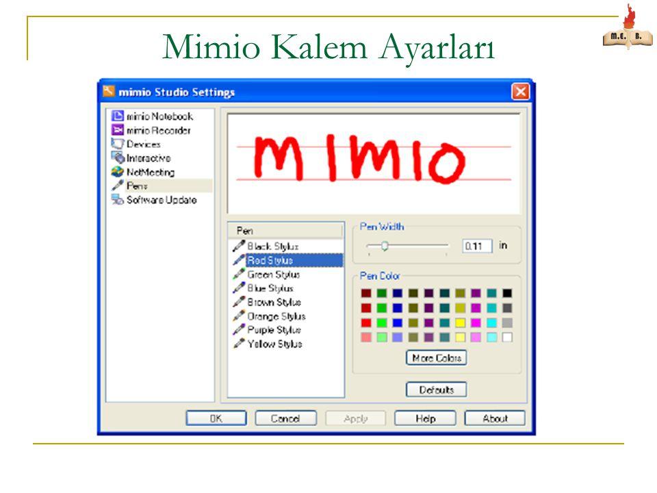 Mimio Kalem Ayarları