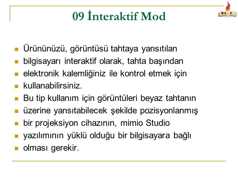 09 İnteraktif Mod Ürününüzü, görüntüsü tahtaya yansıtılan