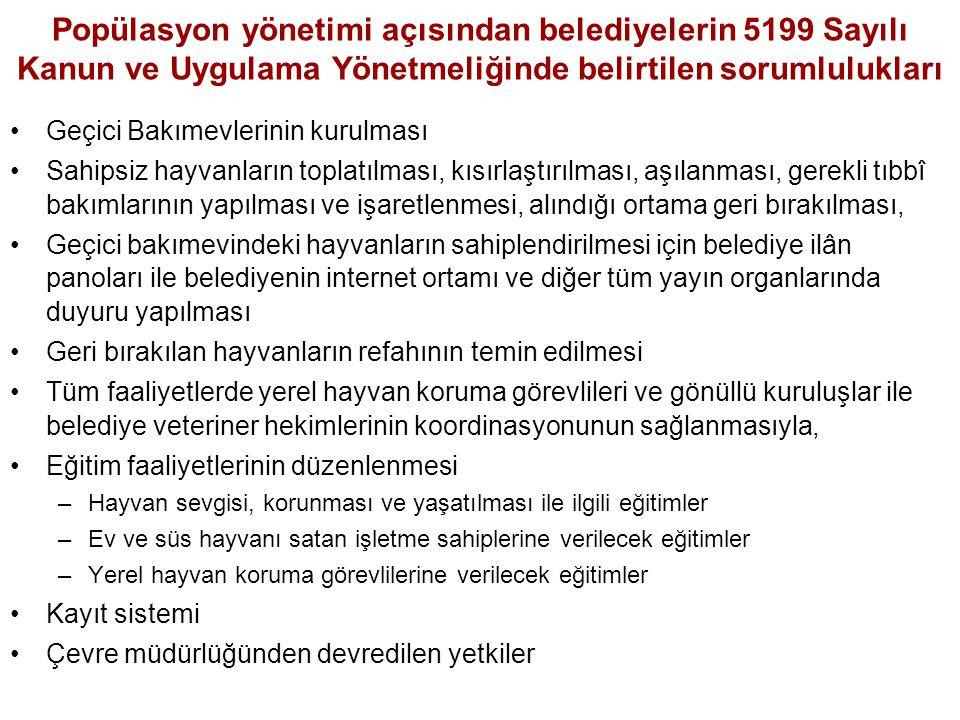Popülasyon yönetimi açısından belediyelerin 5199 Sayılı Kanun ve Uygulama Yönetmeliğinde belirtilen sorumlulukları