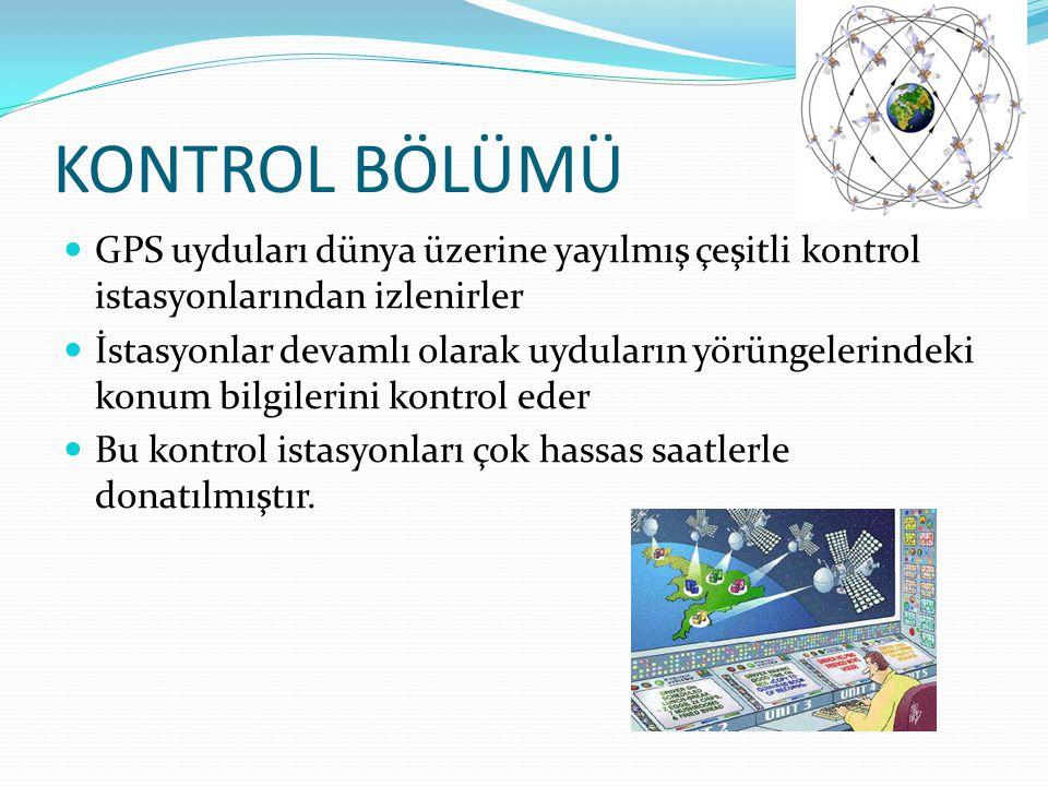 KONTROL BÖLÜMÜ GPS uyduları dünya üzerine yayılmış çeşitli kontrol istasyonlarından izlenirler.