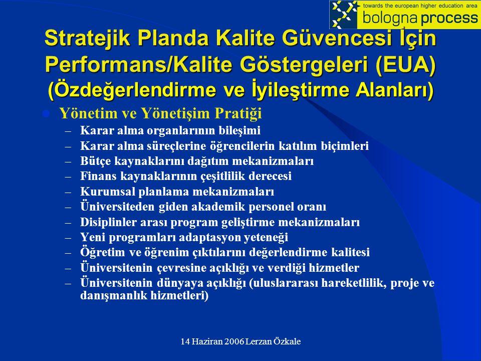Stratejik Planda Kalite Güvencesi İçin Performans/Kalite Göstergeleri (EUA) (Özdeğerlendirme ve İyileştirme Alanları)