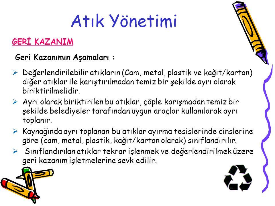 Atık Yönetimi GERİ KAZANIM Geri Kazanımın Aşamaları :