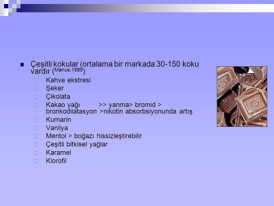 Çeşitli kokular (ortalama bir markada 30-150 koku vardır (Manus,1989)