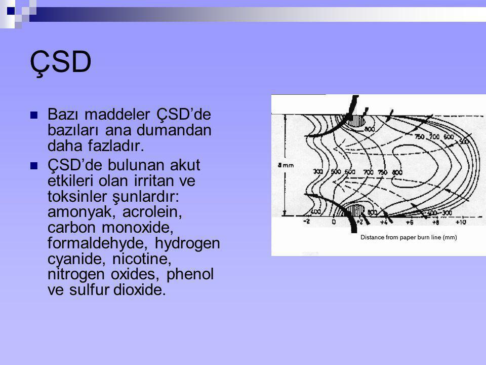 ÇSD Bazı maddeler ÇSD'de bazıları ana dumandan daha fazladır.