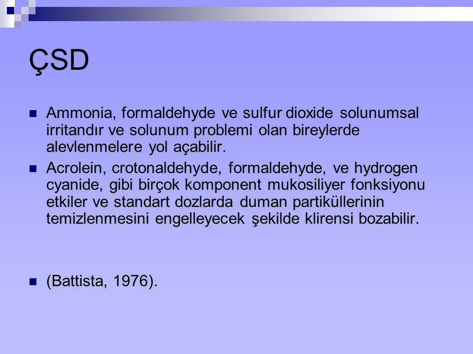 ÇSD Ammonia, formaldehyde ve sulfur dioxide solunumsal irritandır ve solunum problemi olan bireylerde alevlenmelere yol açabilir.