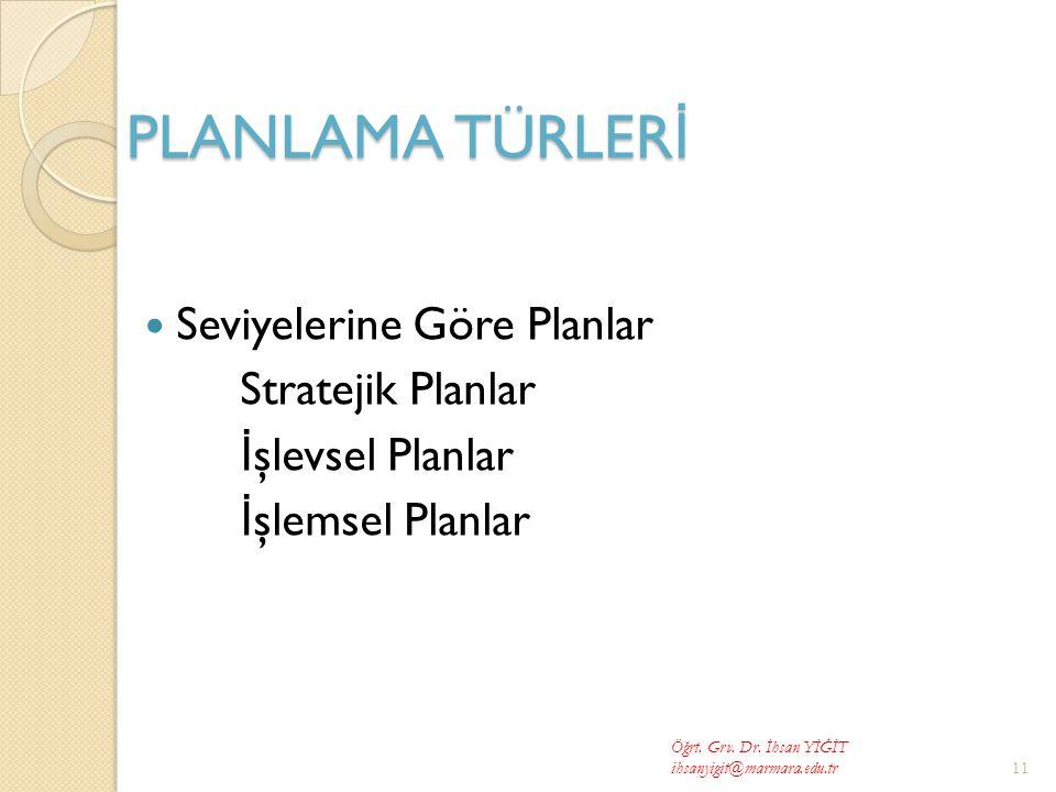 PLANLAMA TÜRLERİ Seviyelerine Göre Planlar Stratejik Planlar