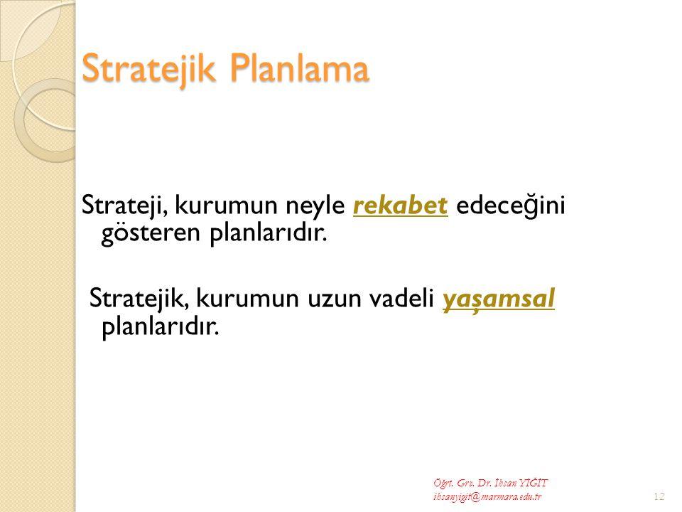 Stratejik Planlama Strateji, kurumun neyle rekabet edeceğini gösteren planlarıdır. Stratejik, kurumun uzun vadeli yaşamsal planlarıdır.