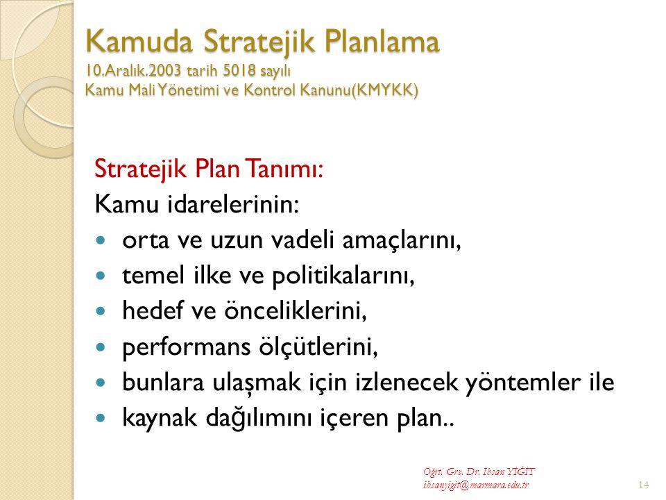 Kamuda Stratejik Planlama 10. Aralık