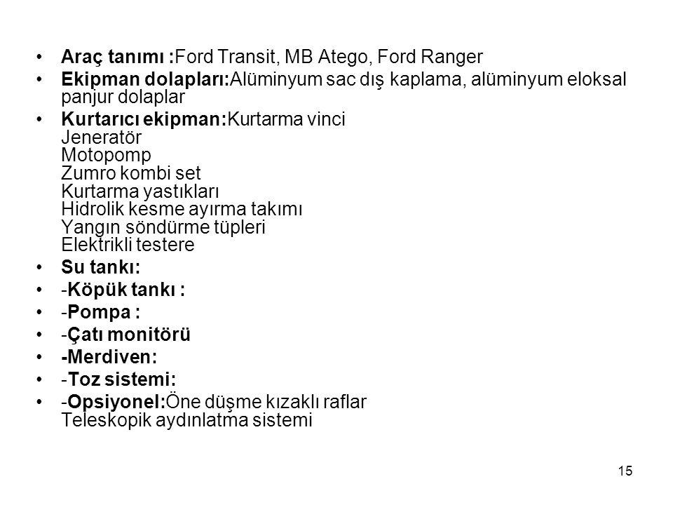 Araç tanımı :Ford Transit, MB Atego, Ford Ranger