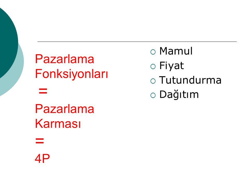 Pazarlama Fonksiyonları = Pazarlama Karması = 4P