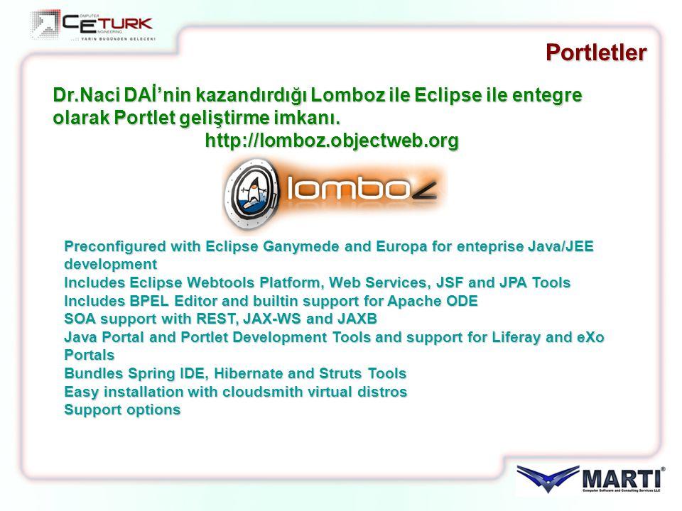Portletler Dr.Naci DAİ'nin kazandırdığı Lomboz ile Eclipse ile entegre olarak Portlet geliştirme imkanı.