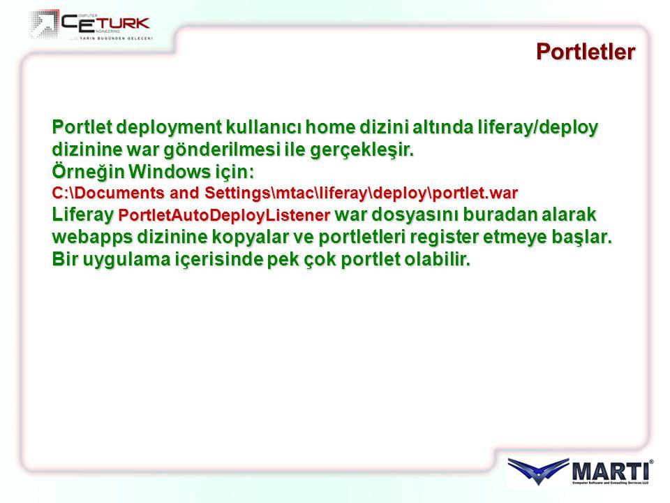 Portletler Portlet deployment kullanıcı home dizini altında liferay/deploy dizinine war gönderilmesi ile gerçekleşir.