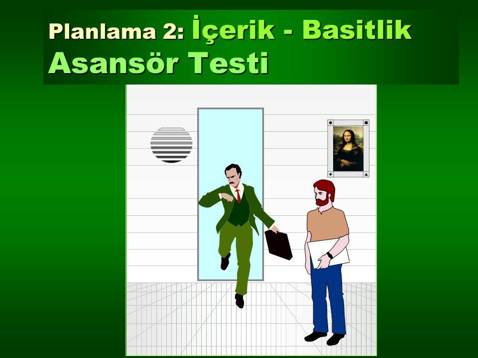 Planlama 2: İçerik - Basitlik Asansör Testi