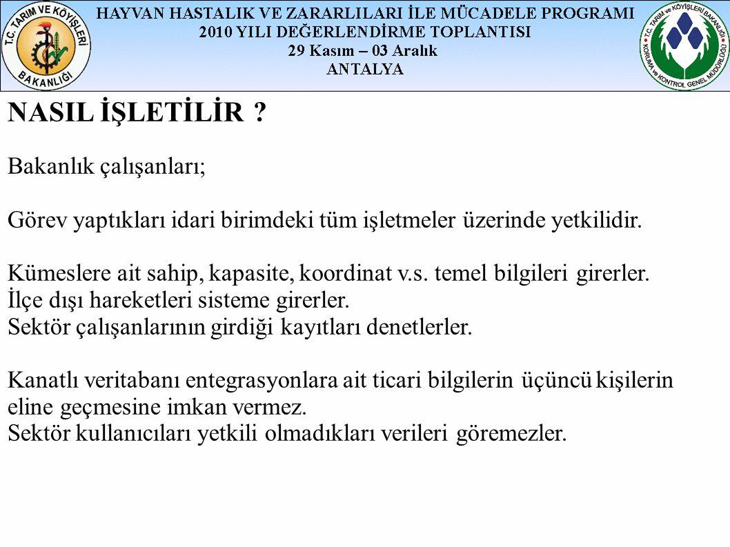 NASIL İŞLETİLİR Bakanlık çalışanları;