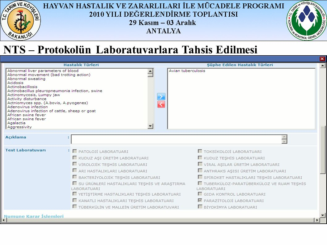 NTS – Protokolün Laboratuvarlara Tahsis Edilmesi