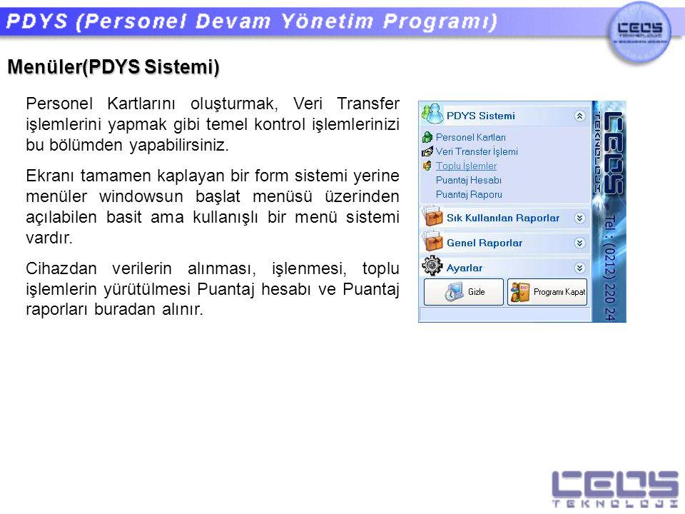 Menüler(PDYS Sistemi)