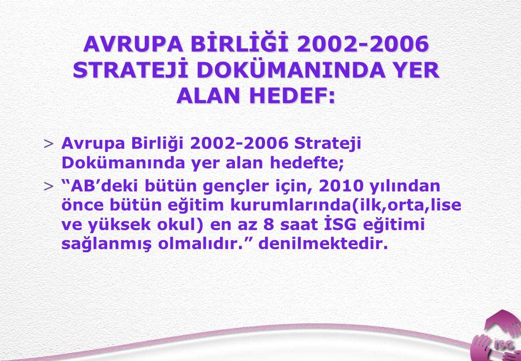 AVRUPA BİRLİĞİ 2002-2006 STRATEJİ DOKÜMANINDA YER ALAN HEDEF: