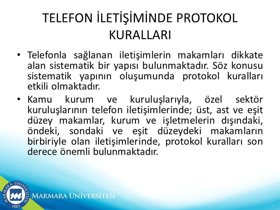 TELEFON İLETİŞİMİNDE PROTOKOL KURALLARI