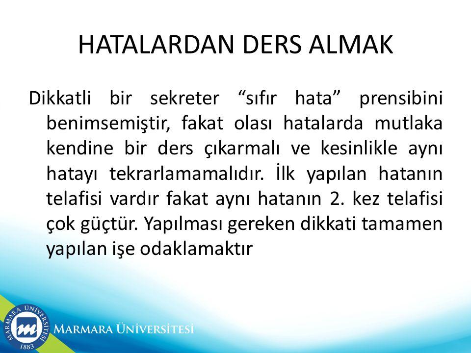 HATALARDAN DERS ALMAK