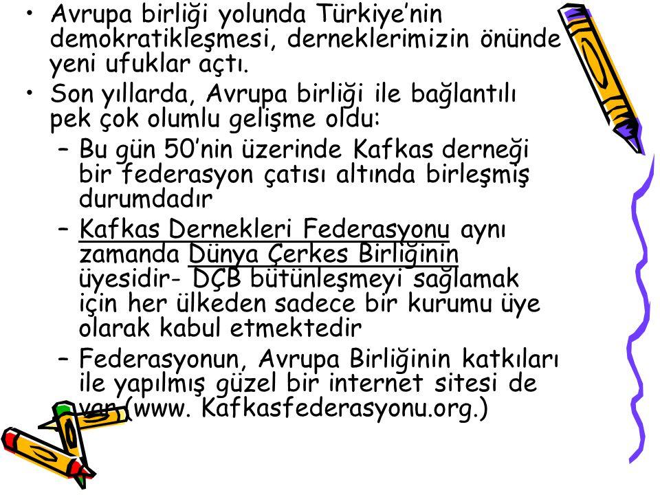 Avrupa birliği yolunda Türkiye'nin demokratikleşmesi, derneklerimizin önünde yeni ufuklar açtı.