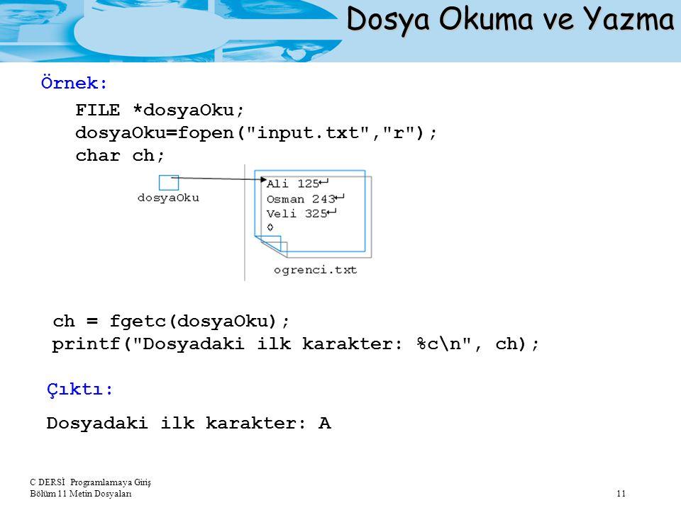 Dosya Okuma ve Yazma FILE *dosyaOku; Örnek: