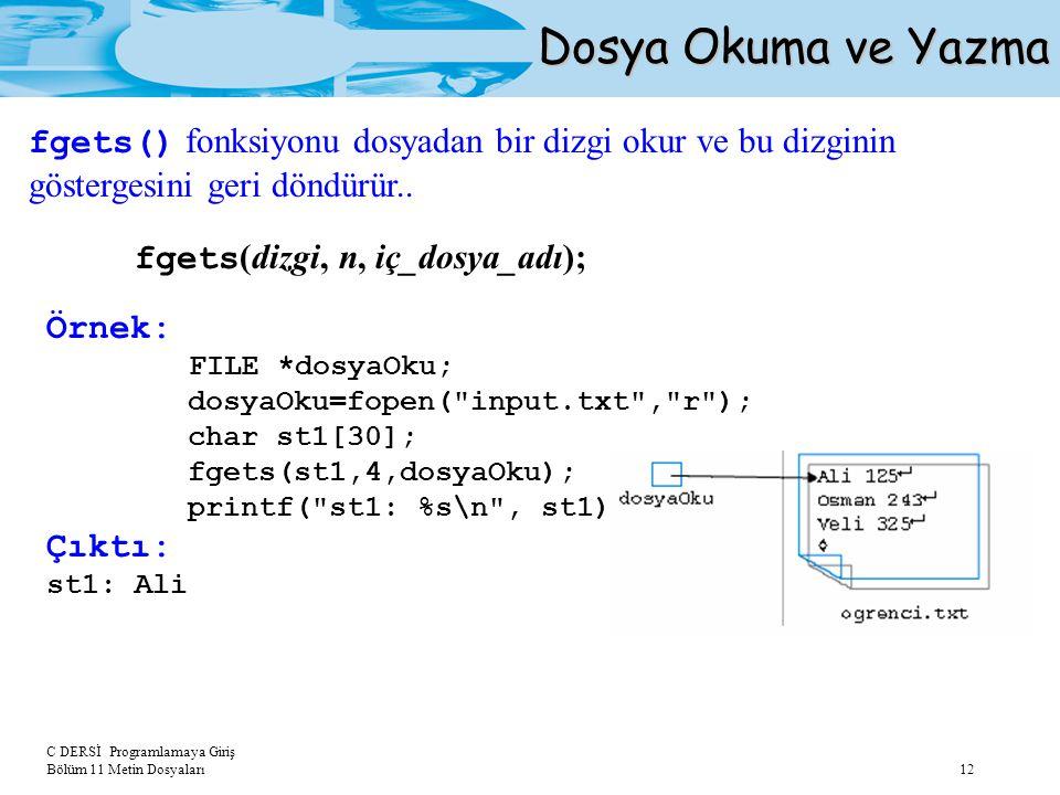 Dosya Okuma ve Yazma fgets() fonksiyonu dosyadan bir dizgi okur ve bu dizginin göstergesini geri döndürür..