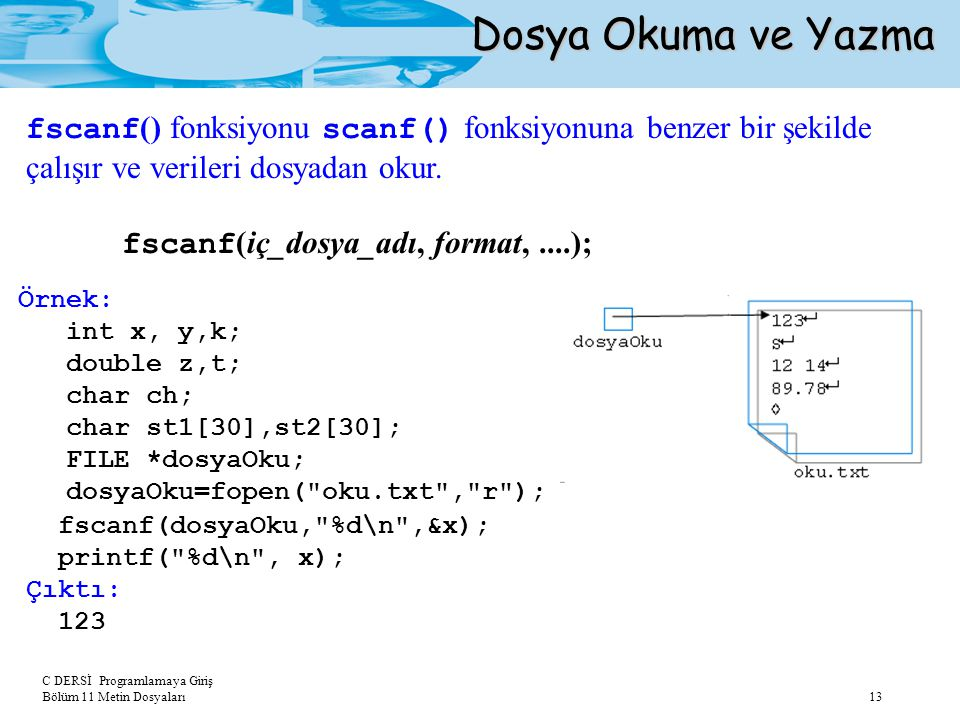 Dosya Okuma ve Yazma fscanf() fonksiyonu scanf() fonksiyonuna benzer bir şekilde çalışır ve verileri dosyadan okur.