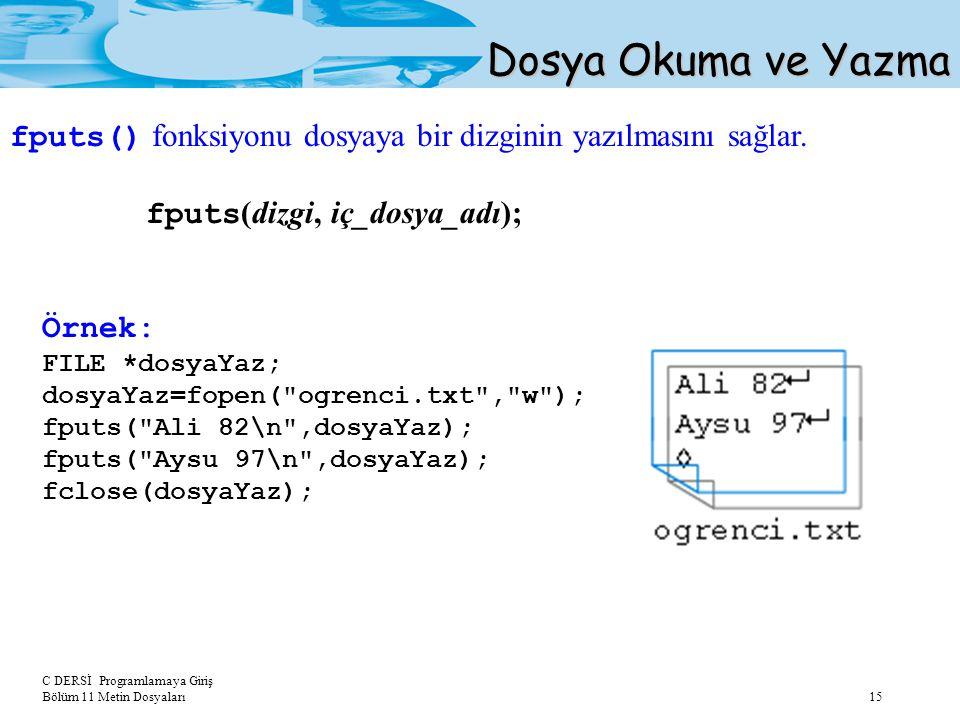 Dosya Okuma ve Yazma fputs() fonksiyonu dosyaya bir dizginin yazılmasını sağlar. fputs(dizgi, iç_dosya_adı);